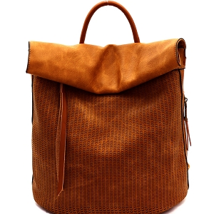 CJF022 Two-Tone Textured Roll-Up Flap Backpack Mustard