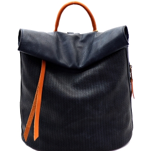 CJF022 Two-Tone Textured Roll-Up Flap Backpack Denim