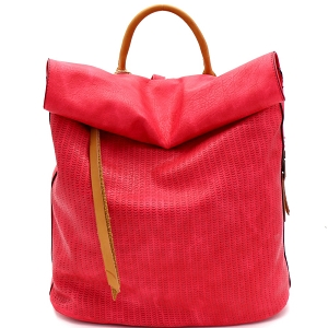 CJF022 Two-Tone Textured Roll-Up Flap Backpack Fuchsia