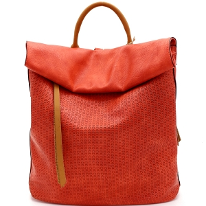 CJF022 Two-Tone Textured Roll-Up Flap Backpack Orange
