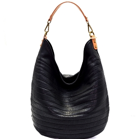 CJF023 Embossed Two-Tone Hobo Black