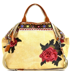 CJF024 Flower and Ethnic Embroidery Folded Corner Linen Tote Beige