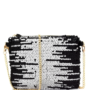 CJF030 Two-Tone Sequin Embellished Clutch Shoulder Bag Pewter