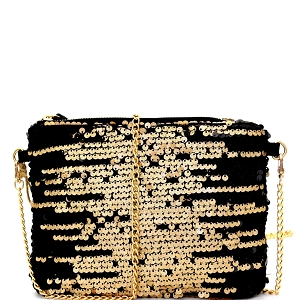 CJF030 Two-Tone Sequin Embellished Clutch Shoulder Bag Bronze