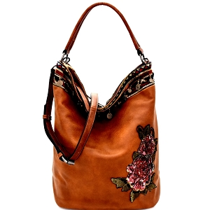 CJF031 Sequin Embellished Flower Patch Bohemian Hobo Brown