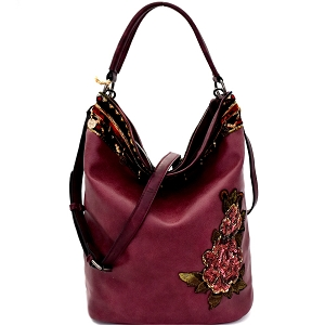 CJF031 Sequin Embellished Flower Patch Bohemian Hobo Wine