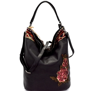 CJF031 Sequin Embellished Flower Patch Bohemian Hobo Black