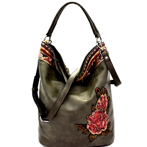 CJF031 Sequin Embellished Flower Patch Bohemian Hobo Olive
