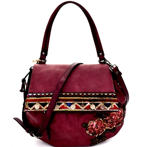 CJF032 Sequin Embellished Flower Patch Bohemian Flap Shoulder Bag Wine