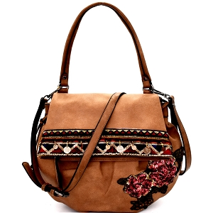 CJF032 Sequin Embellished Flower Patch Bohemian Flap Shoulder Bag Stone