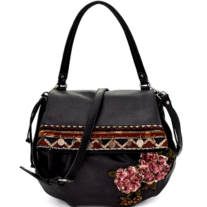 CJF032 Sequin Embellished Flower Patch Bohemian Flap Shoulder Bag Black