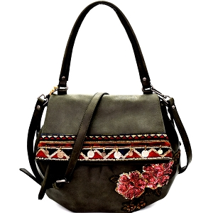 CJF032 Sequin Embellished Flower Patch Bohemian Flap Shoulder Bag Olive