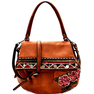 CJF032 Sequin Embellished Flower Patch Bohemian Flap Shoulder Bag Brown