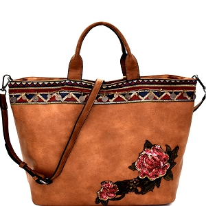 CJF033 Sequin Embellished Flower Patch Bohemian Tote Stone