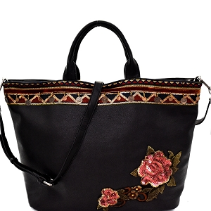 CJF033 Sequin Embellished Flower Patch Bohemian Tote Black