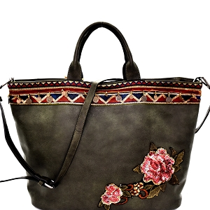 CJF033 Sequin Embellished Flower Patch Bohemian Tote Olive