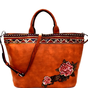 CJF033 Sequin Embellished Flower Patch Bohemian Tote Brown