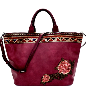 CJF033 Sequin Embellished Flower Patch Bohemian Tote Wine