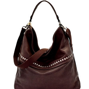 CJF063 Stud Accent Perforated Rustic 2-Way Hobo Coffee