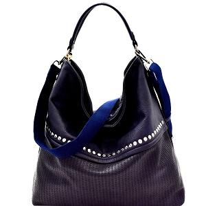 CJF063 Stud Accent Perforated Rustic 2-Way Hobo Navy