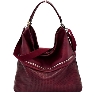 CJF063 Stud Accent Perforated Rustic 2-Way Hobo Burgundy