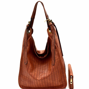 CJF0641W Perforated Single Strap Hobo Wallet SET Brown