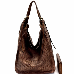 CJF0641W Perforated Single Strap Hobo Wallet SET Coffee