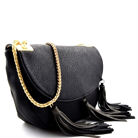 CK005 Tassel Accent Flap Medium Cross Body Black
