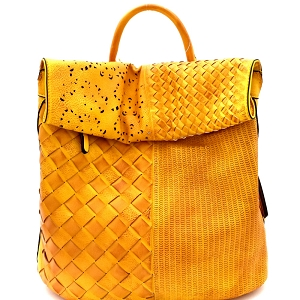 CMS015 Woven Patchwork Rustic Roll-Up Flap Backpack Mustard