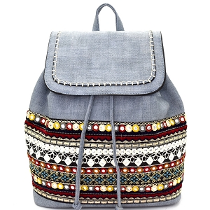 CY015 Bohemian Style Embroidered Backpack Light-Denim