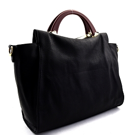 LB102 Wooden Handle Accent Soft Satchel Black