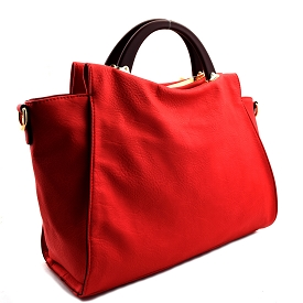 LB102 Wooden Handle Accent Soft Satchel Fuchsia (Coral)