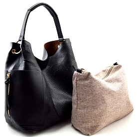 LB105 Perforated Laser-cut 2 in 1 Side Pocket Hobo with Linen Crossbody Black