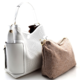 LB105 Perforated Laser-cut 2 in 1 Side Pocket Hobo with Linen Crossbody White