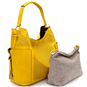 LB105 Perforated Laser-cut 2 in 1 Side Pocket Hobo with Linen Crossbody Mustard