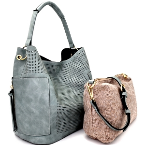 LB105 Laser-cut 2 in 1 Pocket Hobo Teal
