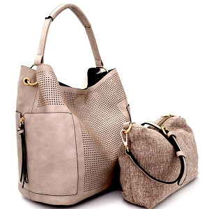 LB105 Perforated Laser-cut 2 in 1 Side Pocket Hobo with Linen Crossbody Gray