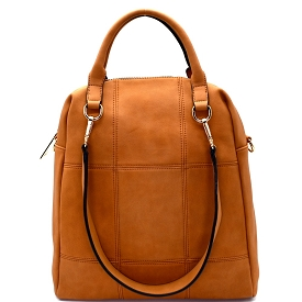 LB126 Stitched 3 Way Matte Textured Satchel Brown