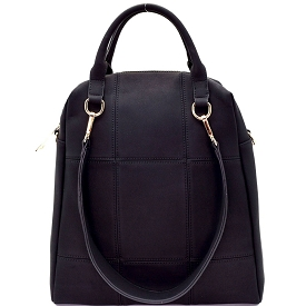 LB126 Stitched 3 Way Matte Textured Satchel Black