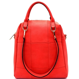LB126 Stitched 3 Way Matte Textured Satchel Red