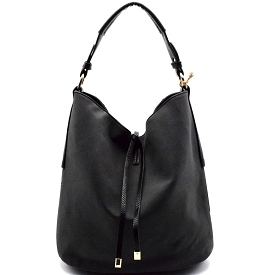 LD069 String Accent Hardware Side Hobo Black