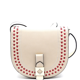 LD090 Contrasting Color Stitch Trim Flap Cross Body Off-White