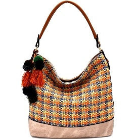 LD092 Thread and Pom Pom Bohemian Woven Hobo Taupe