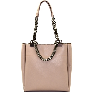 LD095 Pewter-Tone Hardware Chain Accent Tote Stone