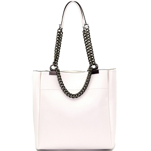 LD095 Pewter-Tone Hardware Chain Accent Tote White