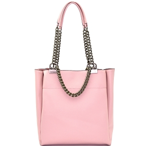 LD095 Pewter-Tone Hardware Chain Accent Tote Pink