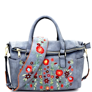 LF139 Flower Embroidery Textured Fold-Over Satchel Denim