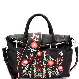 LF139 Flower Embroidery Textured Fold-Over Satchel Black