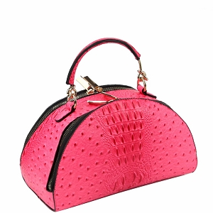 LF182 Neon Ostrich Print 2-Way Medium Half-Moon Satchel Fuchsia