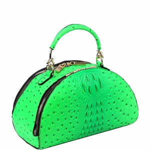 LF182 Neon Ostrich Print 2-Way Medium Half-Moon Satchel Green